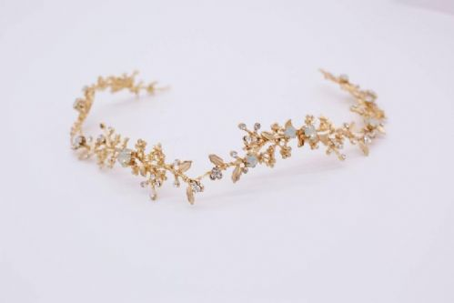 Elizabeth gold & opal bridal hair vine